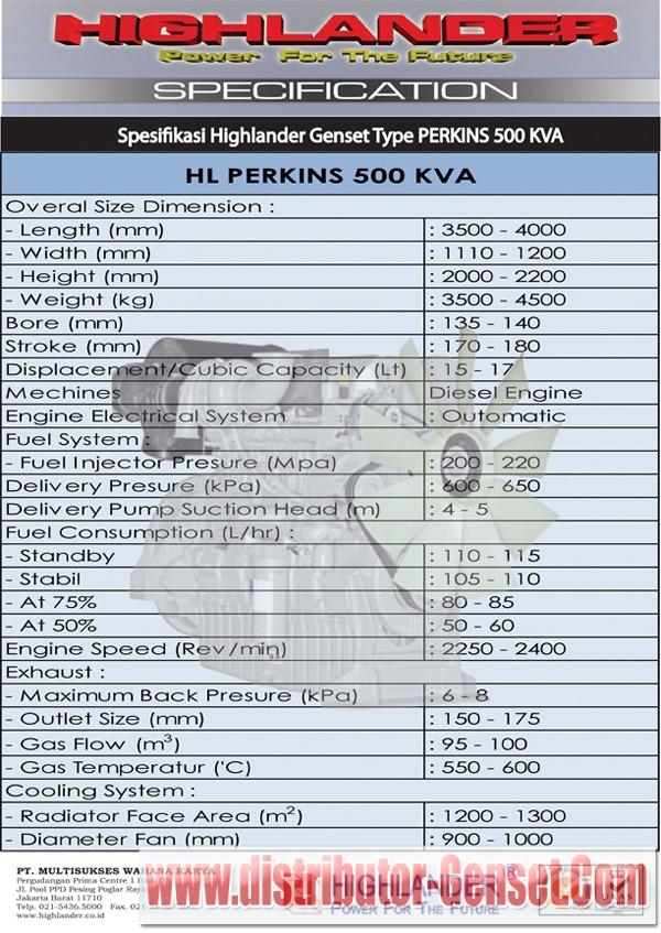 Spesifikasi Genset Perkins 500 KVA