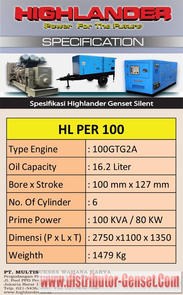 Spesifikasi Genset Perkins 100 KVA Silent Type